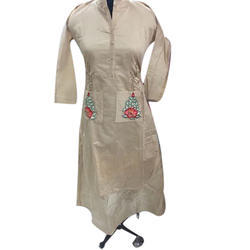 Ladies Chanderi Full Sleeve Embroidered Kurti, Size: XL