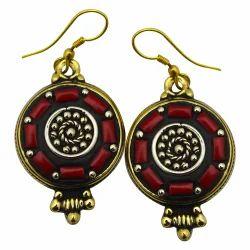 Brass Tibetan Oxidized Earrings
