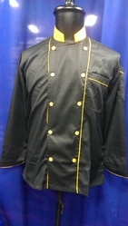Black With Yellow Piping Chef Coats