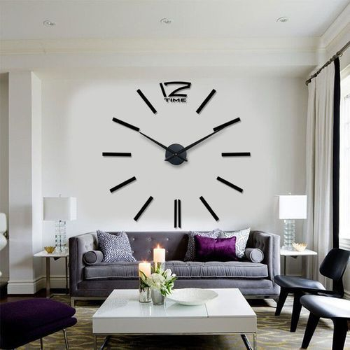 Black Silver Frameless Large Wall Clock Size 2 3 5 Fits