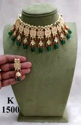 Necklace in artificial Kundan with Emerald & Ruby Coloured Hangings