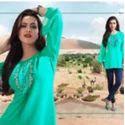 Green Color Georgette Fancy Kurti