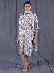 Handblock Midi Dress