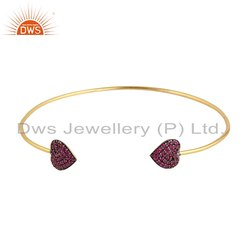 Heart Shape Ruby Beaded Gemstone Gold Plated Cuff Bangle