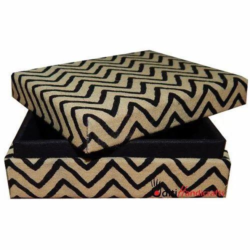 Black And Beige Jute Fabric Gift Box