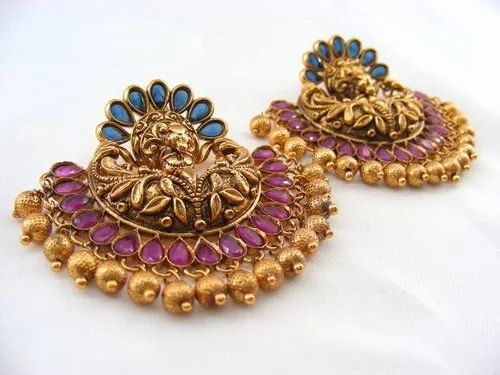 4090574d082 Traditional Antique Gold Plated Embossed Work Golden Balls Beaded Earrings