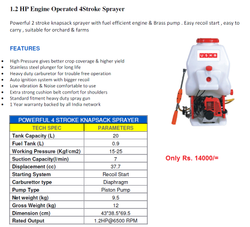 USHA Knapsack Sprayer Engine, For Spraying, Capacity: 16 liters