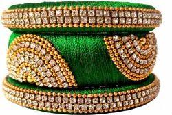 Green and Golden Silk Thread Bangle Set