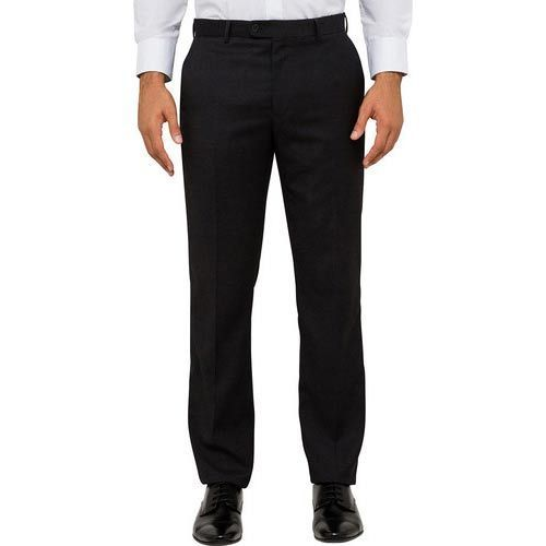 Cotton 30-36 Mens Black Formal Trouser