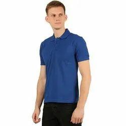 Mens Blue Plain Polo Neck T-Shirt