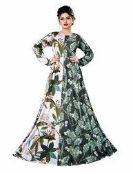 Digital Leaf Floral Printed Long Maxi Gowns Dress for Women