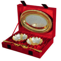 Gold Plated Lotus Bowl Set With Tray