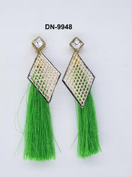 Green Silk Thread Earring