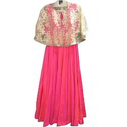 Pink Anarkali Kurti with Poncho