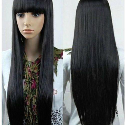 Straightened Long Layered Black Hair 29