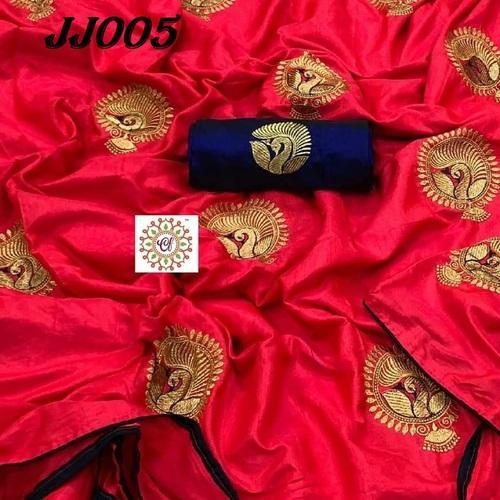 6ee05c4d8165d1 Wedding Wear FESTIVEFAB Pure New Designer Sana Silk Saree With Embroidery  work, With Blouse Piece