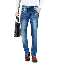 Blue Faded Mens Jeans Fashion M.Stone Towel Wash