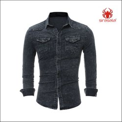 Men Shirt Denim Casual Long Shirts