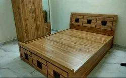 Queen Size Wooden Bed With Storage
