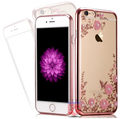half off 5e60f cb7a2 Auora Flower Case With Sparkle Crystals For Iphone 5s Back Cover Rose Gold