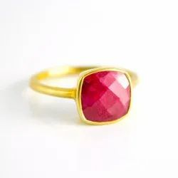 Unique Dyed Ruby Jewelry Handmade Ring