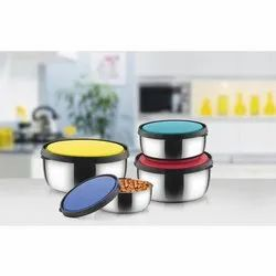 Classic Essentials Round Stainless Steel Lid Storage Bowl Set, For Home