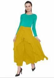 Mustard Yellow American Crepe Ruffel Palazzo Skirt