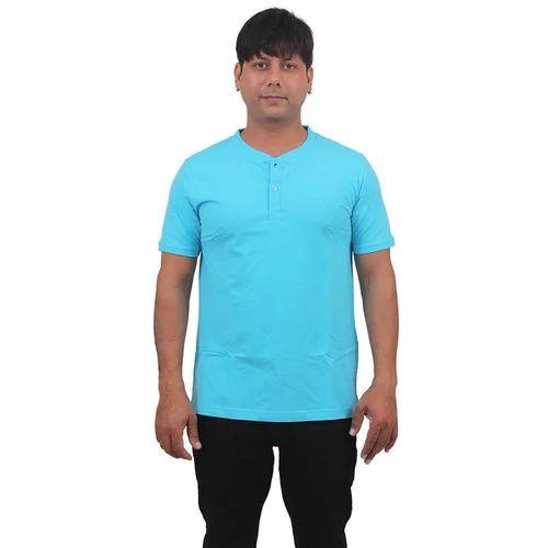 0f274d1ae7e Mens Cotton Light Blue Henley Neck T Shirt