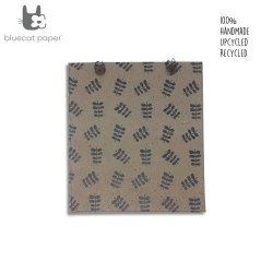 Eco friendly and unique gift bag with buttons - coffee brown paper, black twig leaf print