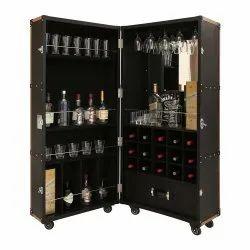 Black Textured Genuine Leather Bar Cabinet