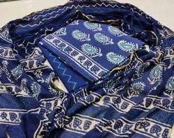 Mansi Printers Cotton Bagru Hand Block Print Katha Work Dress Materials