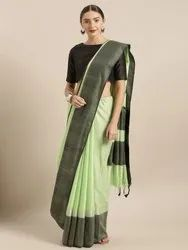 Green Linen Silk Blend Saree with Blouse piece