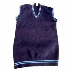 Woolen School Uniform Sleeveless Sweater, Size: 28-32