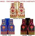 Gujarati Koti - One Side Embroidered Jacket - Cotton Sleeveless Waistcoat - Long Shrug - Vest
