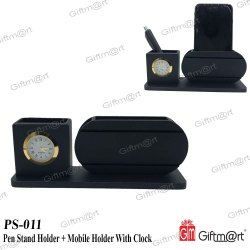 Giftmart Black Pen Stand Holder With Mobile Holder With Clock, Shape: Rectangle