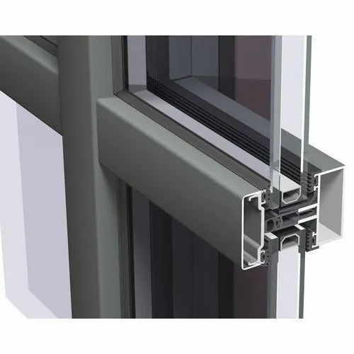 Aluminium Curtain Wall Section, Grade Series: 6061,6063