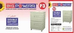 Plastic White Inverter Double Battery Container Trolley, For Home, Load Capacity: 120Kg