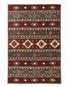 Naqash Rectangular Tabrez Geometric Hand Embroidered Crewel Chain Stitch Woolen Rug