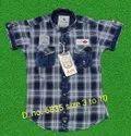 Cotton Regular Wear Kids Checks Shirts