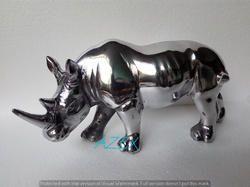 Decorative Rhino Figurine Shiny Polished