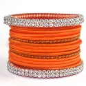 Traditional Orange Silk Thread Bangles Set