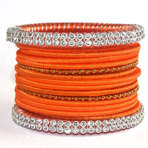 Traditional Orange Silk Thread Bangles Set