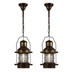Vintage Nautical Brass Pendant Hanging Lantern