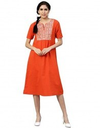 Women Orange Embroidered A-Line Cotton Slub Dress