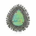 Ethiopian Opal Pave Diamond Baguette Ring