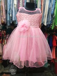 net pink Girls Party Wear Frock, Size: 1 To 5 Year