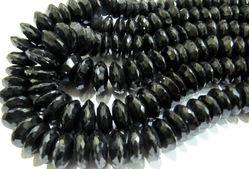 Natural Black Spinel German Cut Beads