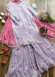 Blue Cotton Party Wear Dresses