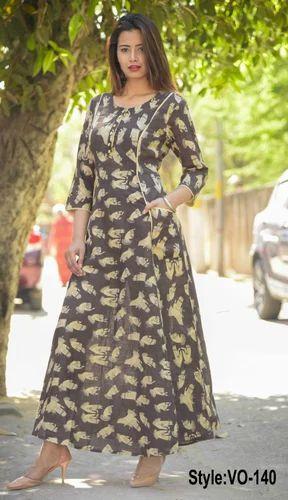 Vedika Overseas Printed Brown Cotton Slub Long Dress With Pockets ... 7c5479c8c