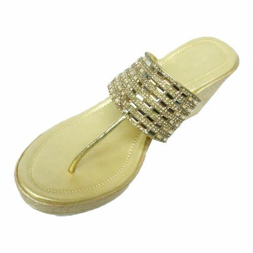 158340e1c4 Golden Women Ladies Wedge Sandals, Rs 450 /pair, Faeem Shoes | ID ...
